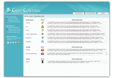 Icecast Control Panel - Media Links HTML Embed